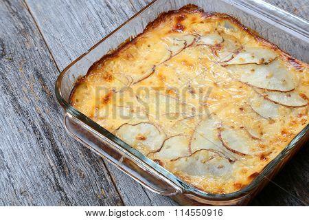 Baked disk of gratin potatoes