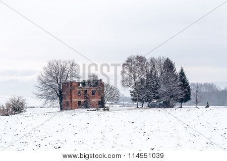 Snow Covering An Abandoned Farm