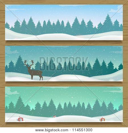 Three winter landscape banners. Winter backround.