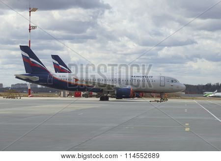 The Airbus A318 -321 (VQ-BCM) Aeroflot parked at Sheremetyevo airport. Moscow