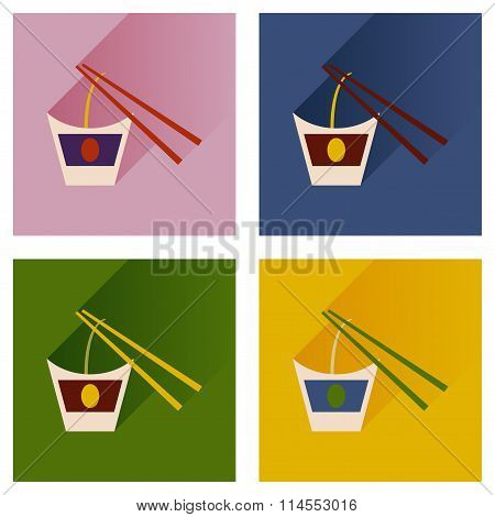 Modern flat icons vector collection with shadow Chinese noodles sticks