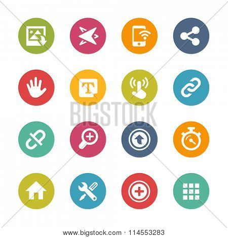 Web and Mobile Icons 10 // Fresh Colors Series ++ Icons and buttons in different layers, easy to change colors ++