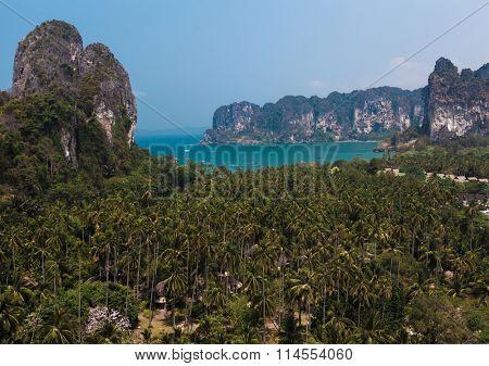 Andaman sea and limestone mountains. Thailand