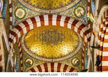 Interior of Notre Dame de la Garde church in Marseille, France