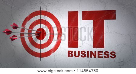 Finance concept: target and IT Business on wall background