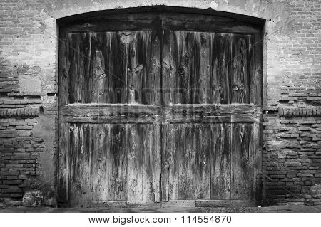 Old Big Wood Door Black And White