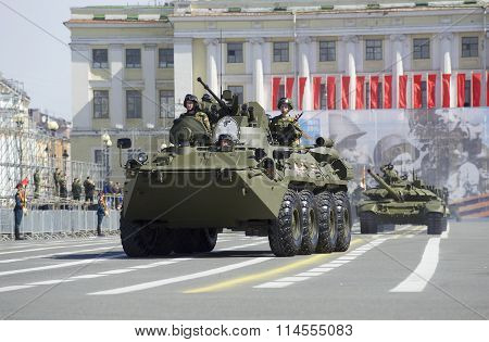 The BTR-82A on rehearsal of parade in honor of Victory Day on Palace square