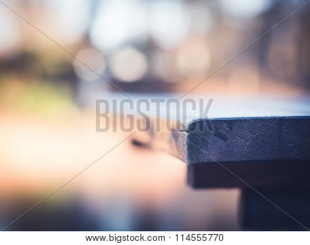 Frost on Wooden Table  - close-up