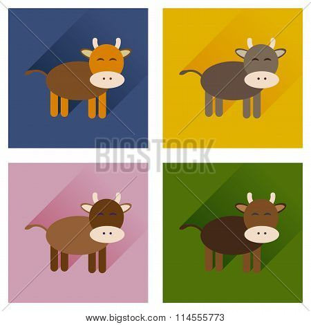 Concept of flat icons with long shadow cow calf