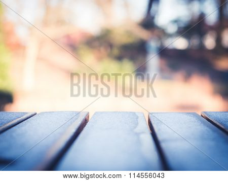 Frost on Wooden Table
