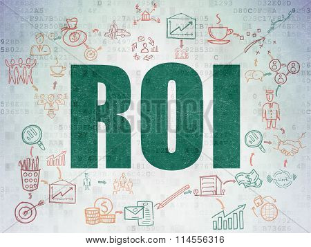Business concept: ROI on Digital Paper background