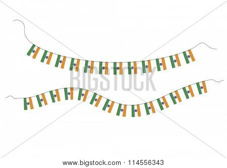 Small bunting flags of Indian national Flag. Vector illustration.
