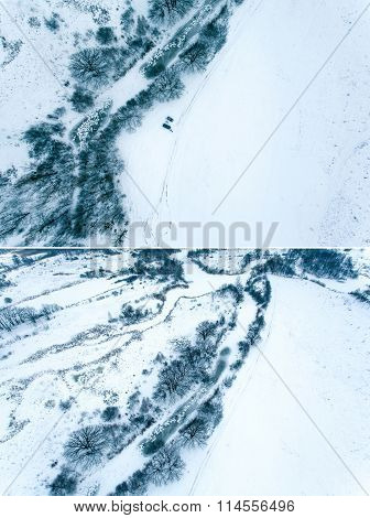 Aerial view in the winter landscape