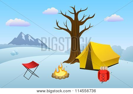 Camping meadow winter landscape day tent campfire tree illustration vector