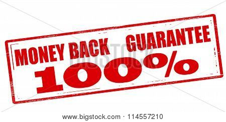 Rubber stamp with text money back guarantee one hundred percent inside vector illustration