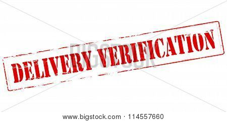 Rubber stamp with text delivery verification inside vector illustration