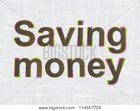 Finance concept: Saving Money on fabric texture background