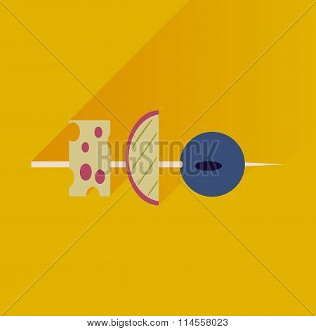 Flat with shadow Icon appetizer on bright background