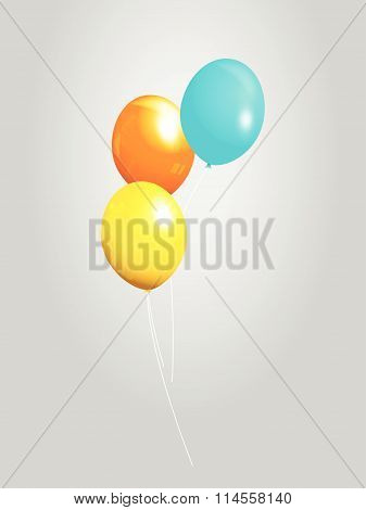 Balloons 3D Over Grey Background