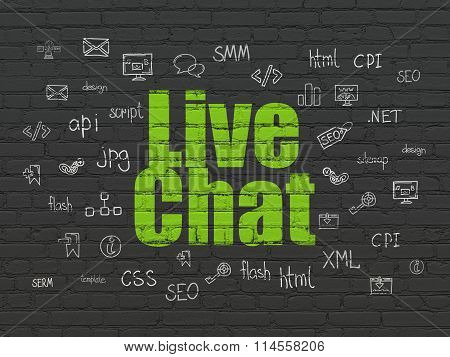 Web development concept: Live Chat on wall background