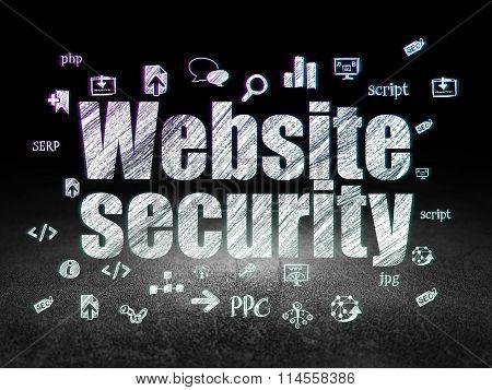 Web development concept: Website Security in grunge dark room