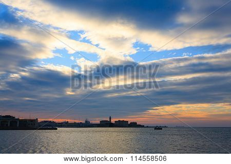 Sunset In The Port Of Trieste, Italy