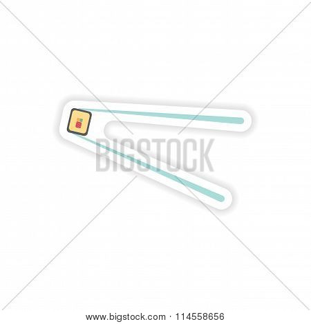 stylish paper sticker on white background sushi roll and chopsticks