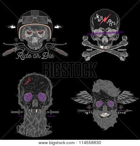 Thin Line Skull Labels