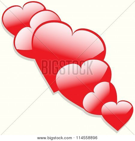 Hearts With Shadow Background
