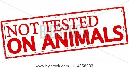 Rubber stamp with text not tested on animals inside vector illustration