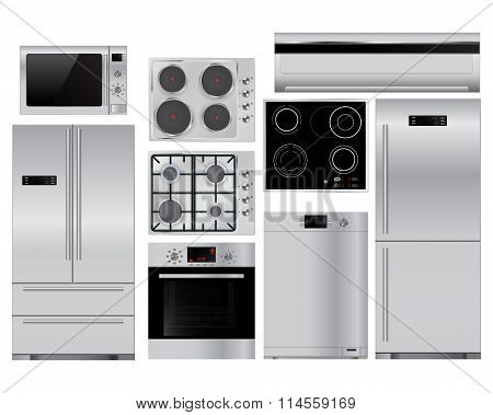 Home Appliances. Set Of Household Kitchenware, Microwave And Electric Oven, Dishwasher, Refrigerator