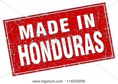 Honduras Red Square Grunge Made In Stamp