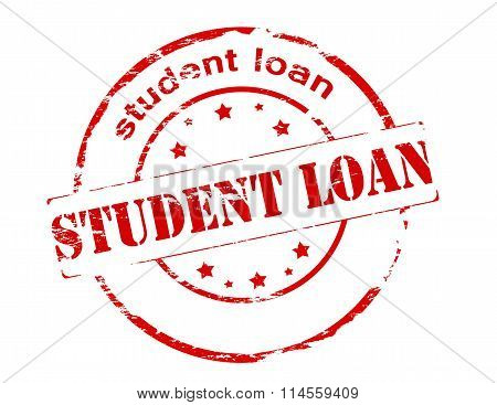 Rubber stamp with text student loan inside vector illustration