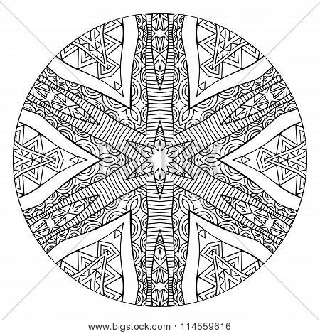 Abstract Black And White Mandala With Ethnic Ornament