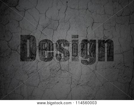 Advertising concept: Design on grunge wall background