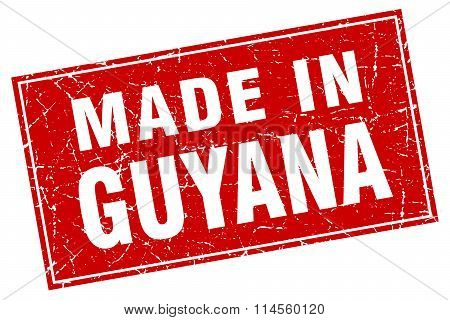 Guyana Red Square Grunge Made In Stamp