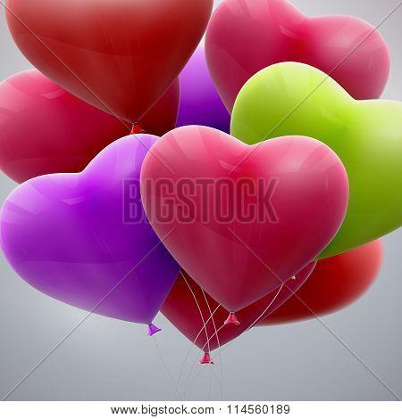flying bunch of balloon hearts