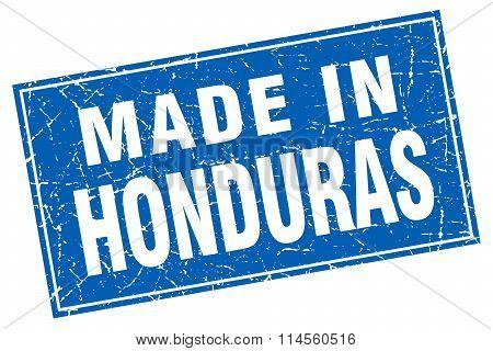 Honduras Blue Square Grunge Made In Stamp