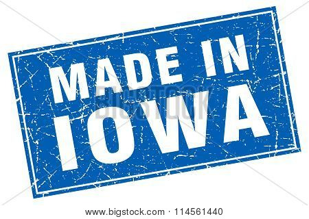 Iowa Blue Square Grunge Made In Stamp