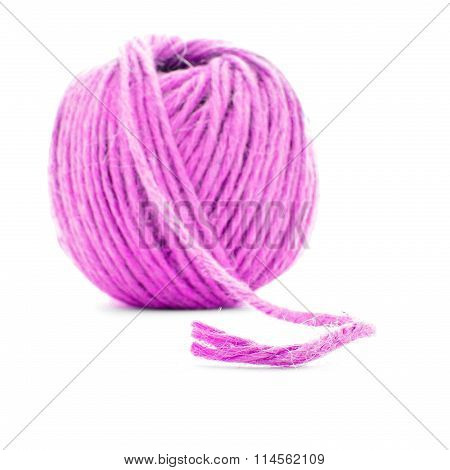Pink Fiber Skein, Sewing Yarn Ball Isolated On White Background
