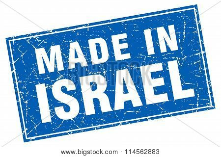 Israel Blue Square Grunge Made In Stamp