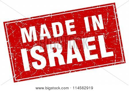 Israel Red Square Grunge Made In Stamp
