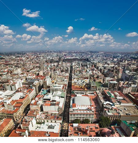 Aerial view of Mexico City, Mexico. Latin America.