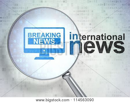 News concept: Breaking News On Screen and International News with optical glass