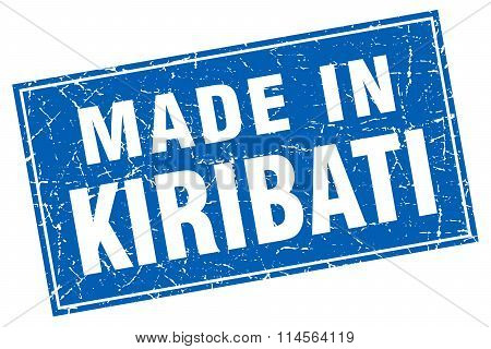 Kiribati Blue Square Grunge Made In Stamp
