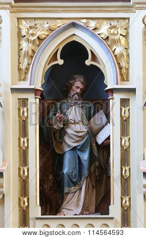 STITAR, CROATIA - AUGUST 27: St. Mark the Evangelist on the pulpit in the church of Saint Matthew in Stitar, Croatia on August 27, 2015