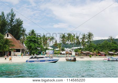 KRABI, THAILAND - OCTOBER 27, 2013: Andaman sea, Ton Sai Bay, view coastline of Phi Phi Don island