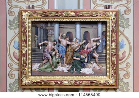 STITAR, CROATIA - AUGUST 27: Massacre of the Innocents, altarpiece in church of Saint Matthew in Stitar, Croatia on August 27, 2015