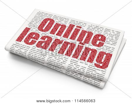 Studying concept: Online Learning on Newspaper background