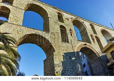 Ruins of medieval aqueduct in Kavala, East Macedonia and Thrace